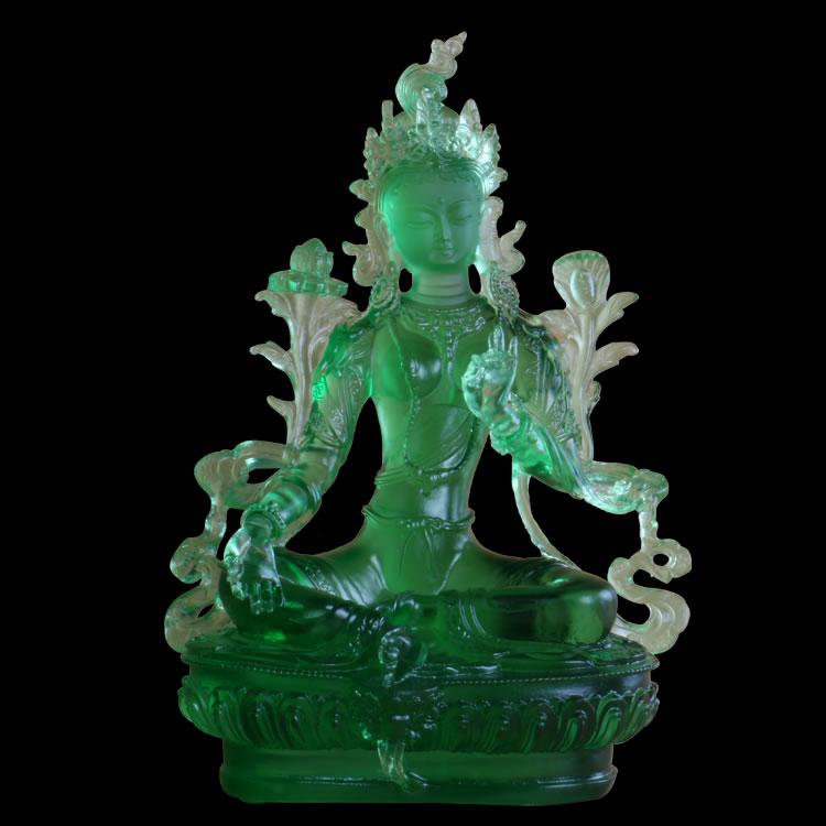 开光琉璃绿度母佛像摆件