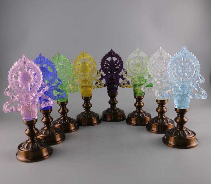 琉璃+纯铜LED八吉祥供灯