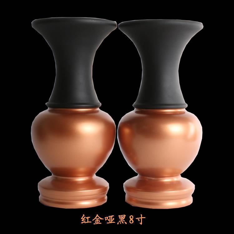 粉金拉丝边纯铜花瓶素面光面花瓶 观音寺院祠堂用佛堂供佛用花瓶