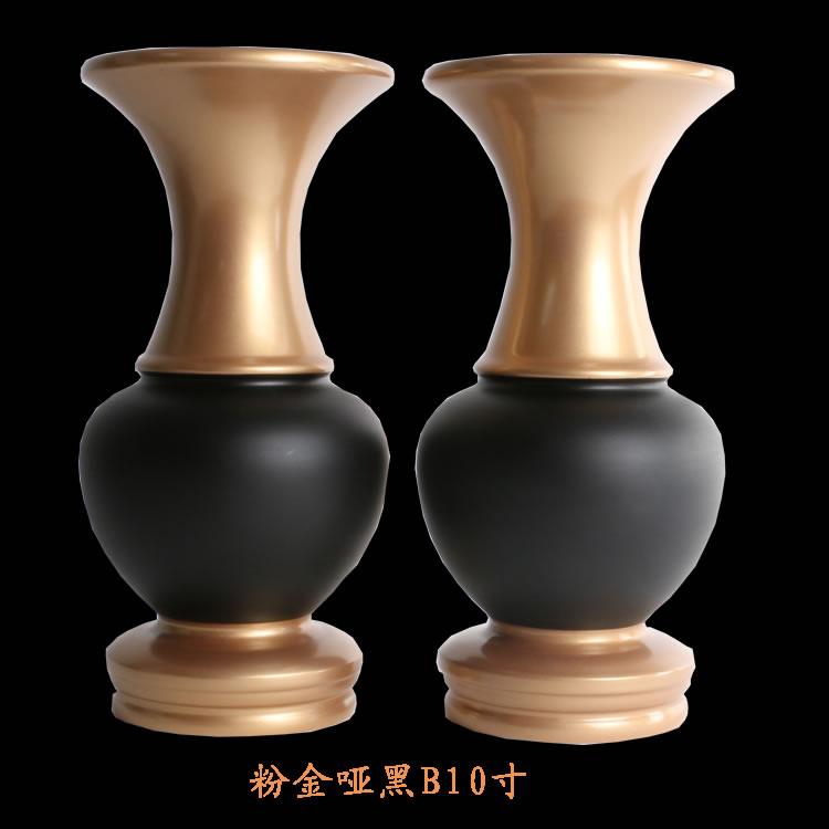 粉金拉丝边纯铜花瓶素面光面花瓶