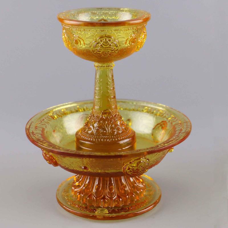 密宗佛具 琉璃托巴碗 护法供杯 藏传护法杯