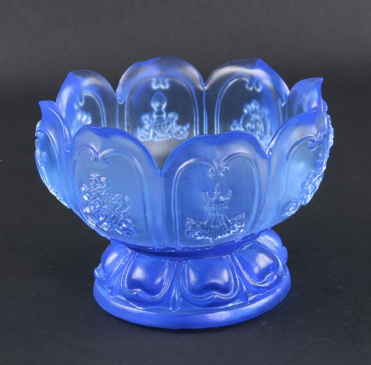 琉璃供碗 贡杯供佛碗八吉祥八供杯供水杯 八色琉璃净水杯佛教用品